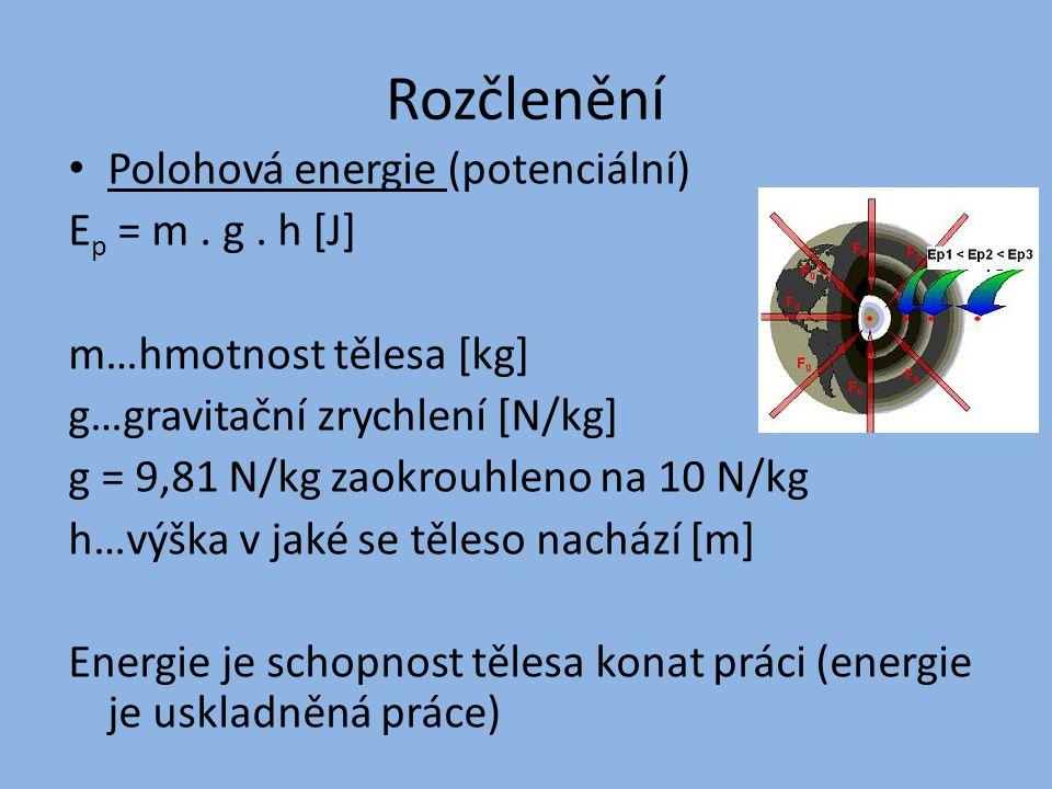 Rozčlenění Polohová energie (potenciální) Ep = m . g . h [J]